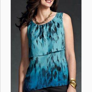 CAbi 142 Serena 100% Silk Tiered Ombre Top Blouse